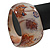 Chunky Beige/Brown 'Floral Pattern' Resin Bangle Bracelet - 20cm Length - view 4