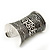 Wide Rhodium Plated Roman Etched Cuff - 95mm Height - view 7