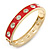 Red Enamel Crystal Hinged Bangle Bracelet In Gold Plating - 19cm Length
