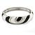 Black/ White Enamel Crystal Hinged Bangle Bracelet In Silver Tone - 18cm L