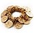 Gold Tone Coin Link Flex Bracelet - view 1