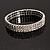 Silver Tone Diamante Stretch Fashion Bracelet (Crystal Clear)