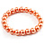 Peach Coloured Pearl Style Flex Bracelet -8mm - view 1