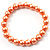 Peach Coloured Pearl Style Flex Bracelet -8mm - view 3