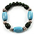 Pale Blue&Olive Green Ceramic Bead Flex Bracelet (Silver Tone)