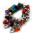 Multicolour Bead&Stone Heart Charm Flex Bracelet (Antique Silver Tone) - view 4