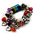 Multicolour Bead&Stone Heart Charm Flex Bracelet (Antique Silver Tone) - view 5