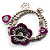 2-Strand Purple Floral Charm Bead Flex Bracelet (Antique Silver) - view 1