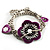 2-Strand Purple Floral Charm Bead Flex Bracelet (Antique Silver) - view 5