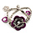 2-Strand Purple Floral Charm Bead Flex Bracelet (Antique Silver) - view 6
