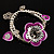 2-Strand Purple Floral Charm Bead Flex Bracelet (Antique Silver) - view 7