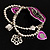 2-Strand Purple Floral Charm Bead Flex Bracelet (Antique Silver) - view 3