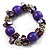 Purple Acrylic Bead, Shell & Metal Link Stretch Bracelet
