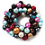 Chunky Multicoloured Simulated Glass Pearl & Shell Flex Bracelet - 17cm Length - view 1