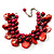 Burgundy Red Simulated Pearl Bead & Shell Charm Bracelet (Silver Tone) - view 6