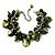 Olive Green Simulated Pearl Bead & Shell Charm Bracelet (Silver Tone)