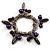 Silver Tone Link Bead Charm Flex Bracelet (Purple)