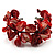Coral Red Floral Shell & Simulated Pearl Cuff Bracelet (Silver Tone) - view 1