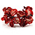 Coral Red Floral Shell & Simulated Pearl Cuff Bracelet (Silver Tone) - view 6