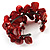 Coral Red Floral Shell & Simulated Pearl Cuff Bracelet (Silver Tone) - view 5