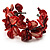 Coral Red Floral Shell & Simulated Pearl Cuff Bracelet (Silver Tone) - view 2