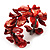 Coral Red Floral Shell & Simulated Pearl Cuff Bracelet (Silver Tone) - view 7