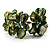 Olive Green Floral Shell & Simulated Pearl Cuff Bracelet - view 6
