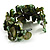 Olive Green Floral Shell & Simulated Pearl Cuff Bracelet - view 7