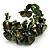 Olive Green Floral Shell & Simulated Pearl Cuff Bracelet - view 8
