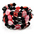 Acrylic &amp; Shell Bead Coil Flex Bangle Bracelet (Black &amp; Pink)