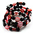 Acrylic & Shell Bead Coil Flex Bangle Bracelet (Black & Pink) - view 4