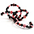 Acrylic & Shell Bead Coil Flex Bangle Bracelet (Black & Pink) - view 5