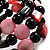 Acrylic & Shell Bead Coil Flex Bangle Bracelet (Black & Pink) - view 6