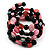 Acrylic & Shell Bead Coil Flex Bangle Bracelet (Black & Pink) - view 2