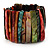 Wide Multicoloured Shell Stretch Bracelet (Stripes) - view 3