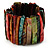 Wide Multicoloured Shell Stretch Bracelet (Stripes) - view 2