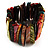 Wide Multicoloured Shell Stretch Bracelet (Stripes) - view 4