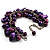 Deep Purple Simulated Pearl Bead & Shell Charm Bracelet (Silver Tone) - view 3