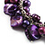 Deep Purple Simulated Pearl Bead & Shell Charm Bracelet (Silver Tone) - view 4