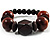 Dark Brown Chunky Wood Bead Flex Bracelet - 18cm Length - view 2