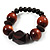 Dark Brown Chunky Wood Bead Flex Bracelet - 18cm Length - view 3