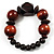 Dark Brown Chunky Wood Bead Flex Bracelet - 18cm Length - view 4