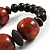 Dark Brown Chunky Wood Bead Flex Bracelet - 18cm Length - view 6