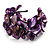 Bright Purple Floral Shell &amp; Pearl Cuff Bracelet (Silver Tone)