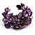 Bright Purple Floral Shell & Simulated Pearl Cuff Bracelet (Silver Tone) - view 7