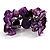 Bright Purple Floral Shell & Simulated Pearl Cuff Bracelet (Silver Tone) - view 6
