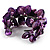 Bright Purple Floral Shell & Simulated Pearl Cuff Bracelet (Silver Tone) - view 8