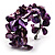 Bright Purple Floral Shell & Simulated Pearl Cuff Bracelet (Silver Tone) - view 9