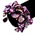 Bright Purple Floral Shell & Simulated Pearl Cuff Bracelet (Silver Tone) - view 2