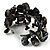 Black Floral Shell & Simulated Pearl Cuff Bracelet - view 3